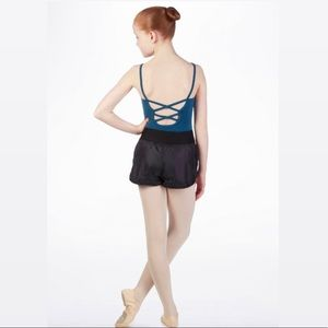 Mirella Nylon Dance Warmup Garter Shorts Navy